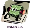 Vector Clip Art graphic  of a Money rolodex
