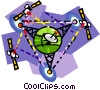 Satellites around the world Vector Clipart picture