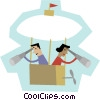 Vector Clip Art image  of a man and woman in a hot air balloon