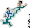 symbol of men running up stairs Vector Clip Art picture