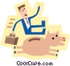 Vector Clip Art graphic  of a symbol of man with money bank