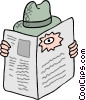 Vector Clip Art image  of a looking through a hole in a newspaper