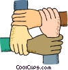 multicultural hands inter joined, teamwork Vector Clip Art graphic