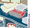 Vector Clipart illustration  of a desk with papers and