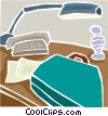desktop with briefcase and lamp Vector Clip Art image