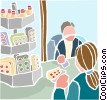 People exchanging money for goods Vector Clipart picture