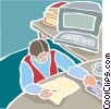 Vector Clip Art graphic  of a Person working at computer