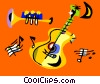 Vector Clipart illustration  of a Trumpet and guitar