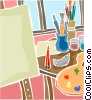 Artist's easel with paint brushes and palette Vector Clipart picture