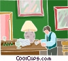 Vector Clip Art graphic  of a man at a bar