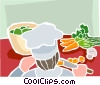 Vector Clip Art graphic  of a chef preparing vegetables