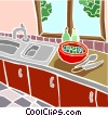kitchen scene Vector Clipart picture