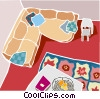 sofa and living room Vector Clipart illustration