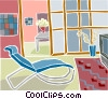 Vector Clip Art graphic  of a comfortable reclining chair with tv set