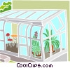 Vector Clipart picture  of a sunroom with plants