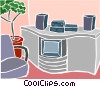 Vector Clipart illustration  of a home entertainment system