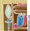 Vector Clip Art image  of a clothes closet
