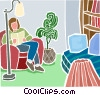 Vector Clip Art graphic  of a Relaxing with a book in a chair