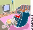 living room chair with television set Vector Clip Art image