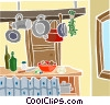 Vector Clipart illustration  of a kitchen scene