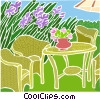 Vector Clipart graphic  of a Lawn furniture in the backyard