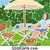 table with umbrella, summer scene Vector Clipart image