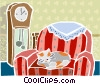 cat sleeping in a chair Vector Clipart illustration