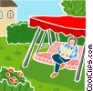 Vector Clipart picture  of a swinging lounge with man