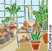 Vector Clipart graphic  of a greenhouse plants