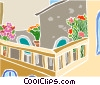 balcony scene Vector Clipart illustration
