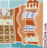 Vector Clipart graphic  of a kitchen dishes displayed on a