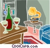 Vector Clipart illustration  of a wine bottle with glasses and phonograph