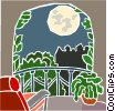 Vector Clip Art image  of a moonlight on a balcony