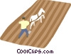 Vector Clip Art image  of a Man plowing in a field
