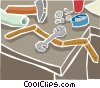 Vector Clip Art graphic  of a workbench tools