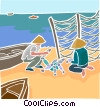 Vector Clip Art graphic  of a fishermen with the day's catch