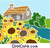 sunflowers with a country cottage Vector Clipart picture