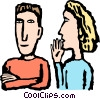Vector Clipart graphic  of a Woman whispering to a