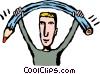 man bending a pencil Vector Clip Art picture