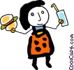 Figure with burger and drink Vector Clipart image