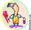 man painting Vector Clipart illustration
