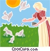 Vector Clipart graphic  of a Girl feeding birds