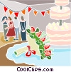 Wedding reception and wedding cake Vector Clipart illustration