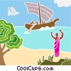 fishing boat with figure on the shore Vector Clipart picture