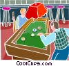 People playing pool Vector Clip Art graphic