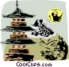 Vector Clipart graphic  of a Japanese pagoda