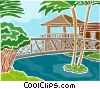 tropical setting with palm trees and bridge Vector Clipart image