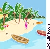 Tropical beach with boats Vector Clipart illustration