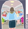 Vector Clip Art image  of a stewardess addressing