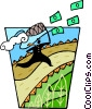 Vector Clip Art graphic  of a chasing dollars with a